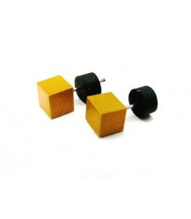 Gele vierkante oorknopjes oorbellen van Tjonge Jonge