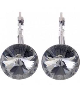Swarovski oorbellen met antraciet strassteen 14 mm