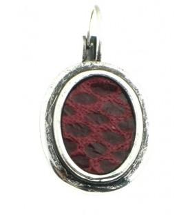 Zilverkleurige oorbellen met rode tijgerprint