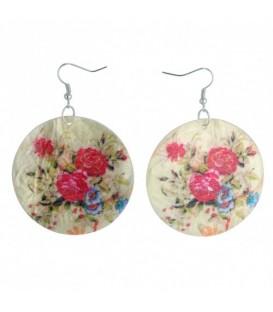 Oorbellen van parelmoer met gekleurde bloemen opdruk