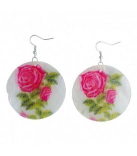 Oorbellen van parelmoer met gekleurde roos opdruk