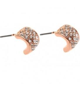 Ronde rose gold kleurige oorbellen met heldere strass