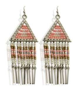 Roze oorbellen Ibiza style met strengetjes kralen