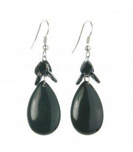 Zwarte ovale oorbellen