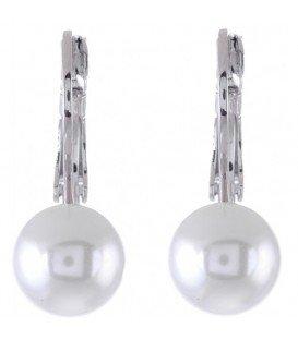 Parel oorbellen. Oorbellen met een 10 mm glasparel