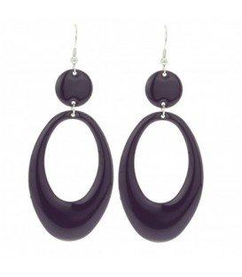 Donker paars ovale oorbellen
