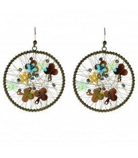 Bruine ronde oorbellen met kralen en pailletjes