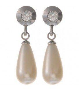 Beige creme oorbellen met swarvoski steen en parel