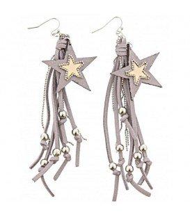 Grijze oorbellen met ster