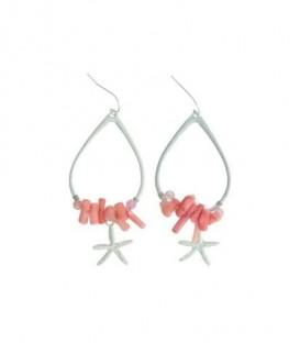 Roze oorbellen met kraaltjes en zeester