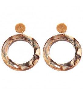 Bruin gekleurde ronde oorbellen