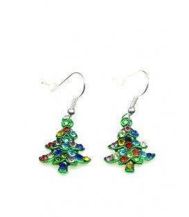 Groene kerstboom oorbellen met gekleurde strass