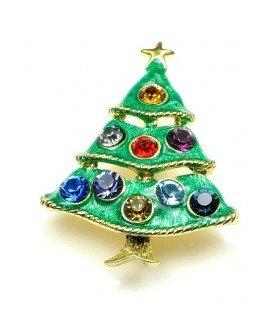 Broche (kerstboom) met gekleurde strass in goudkleurige zetting