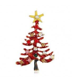 Mooie vrolijke kerst broche kerstboom