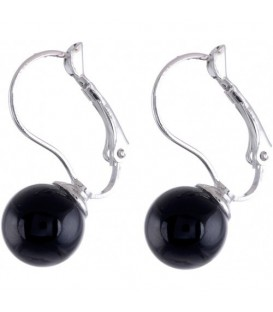 Zilverkleurige oorbellen met zwarte glas parel