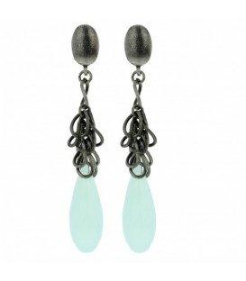 Turquoise lange oorbellen met ringetjes