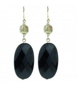 Zwarte oorbellen met ovale hanger