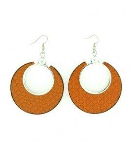Geel / oranje ronde oorbellen met een ruitvormig patroon