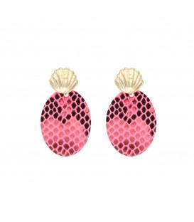 Roze slangenprint oorbellen in twee mooie neonkleuren