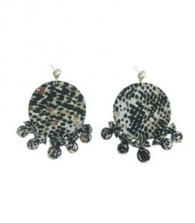 Zwart gekleurde oorbellen met ronde hanger en dierenprint