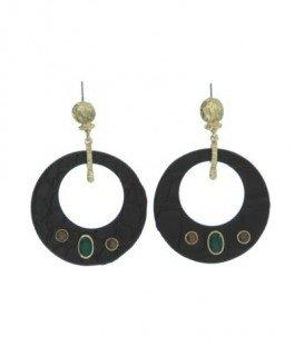 Bruine oorbellen ronde hanger en stenen