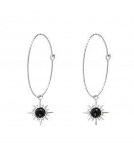 Zilverkleurige oorbellen met natuurstenen hanger