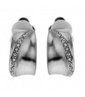 Zilverkleurige oorclip met een strass rand