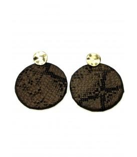Bruine oorbellen met slangenhuid print