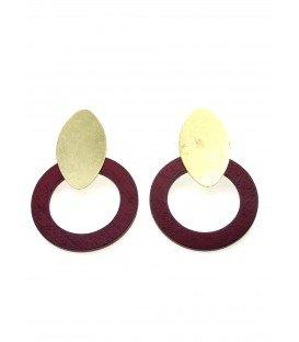 Oorclips met paarse houten ring en goudkleurige clip
