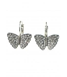 Zilverkleurige vlinder oorbellen met strass steentjes