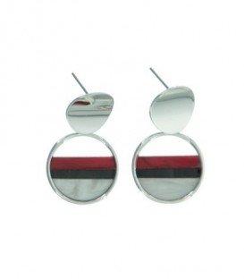 Zilverkleurige oorbellen met ronde hanger en gekleurde strepen