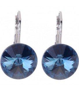 Oorbellen met donkerblauwe Swarovski strass steen (14 mm)