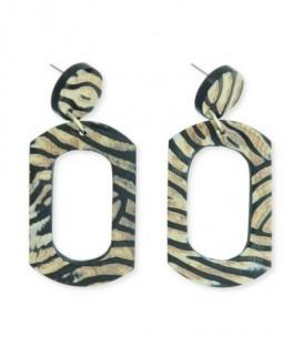 Zwart/Bruine oorbellen met een open vierkante hanger