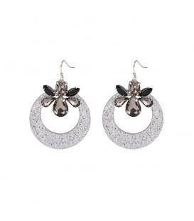 Trendy grijze oorbellen met glitter en kleurrijke kristallen stenen