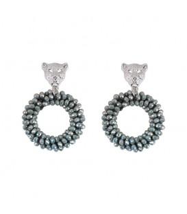 Trendy grijze oorbellen van kristal stenen met een luipaard kop aan de bovenkant