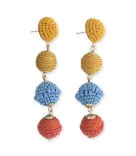 Gekleurde oorbellen met 3 ballen , kralen en gewikkeld stof