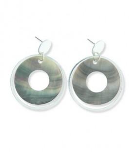 Zilverkleurige oorbellen met een schijf en 2 ringen