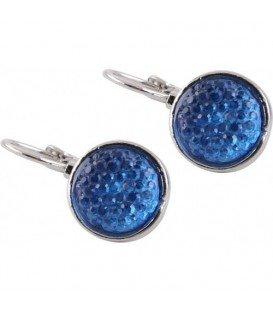 Zilverkleurige oorhangers met blauwe strasssteentjes