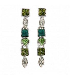 Groene oorbellen met vierkante en ronde steentjes