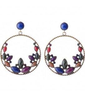 Gekleurde oorbellen met mooie steentjes in de hanger