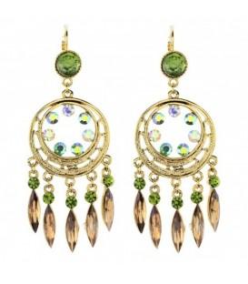 Goudkleurige oorbellen met groene steentjes