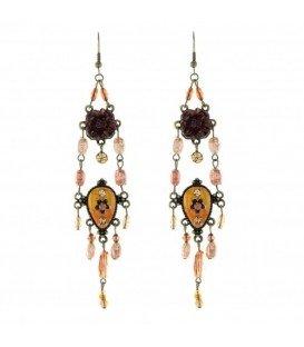 Antiek goudkleurige oorbellen met kraaltjes en bloem