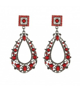 Vintage rode oorbellen in antiek zilver met rode strass