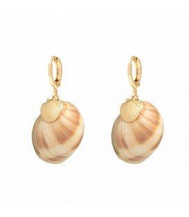 Goudkleurige oorbellen met echte zeeschelpen