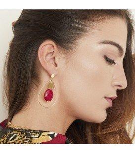 goudkleurige oorbellen met zon engele steen