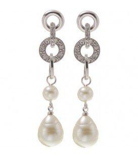 zilverkleurige oorbellen met strass steentjes en parel als hanger