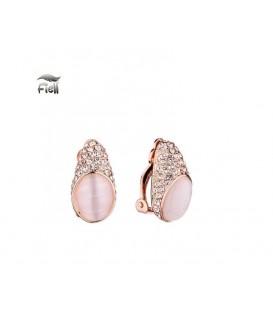 rosegold kleur oorclips met zirconia strass steentjes