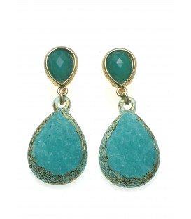 blauw,groene oorbellen in goudkleurige zetting