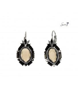 oorbellen met grijze facetkraal en zwart met grijze kralenrand