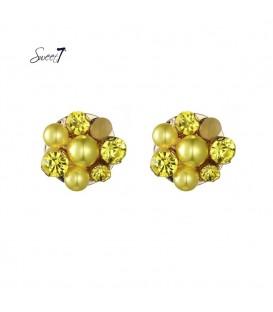 gele oorknopjes met parels en strass stenen